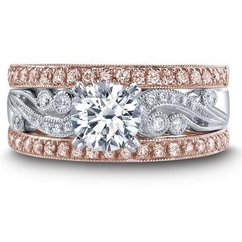 ROSE AND WHITE GOLD WITH PINK AND WHITE DIAMONDS ENGAGEMENT RING SET