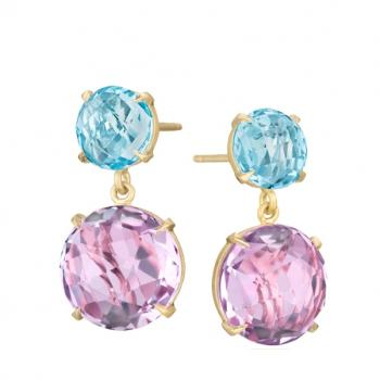 ROSE DE FRANCE AND BLUE TOPAZ EARRINGS