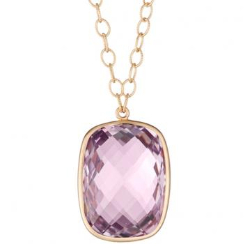ROSE DE FRANCE CUSHION CUT PENDANT NECKLACE
