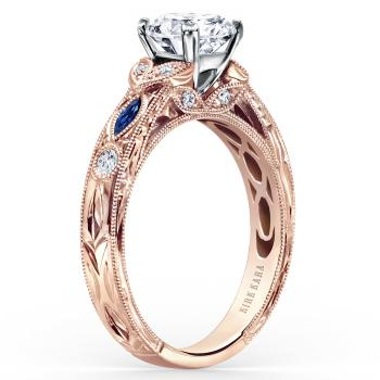 ROSE GOLD, SAPPHIRE AND DIAMOND ENGAGEMENT RING