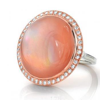 ROSE QUARTZ AND DIAMOND RING