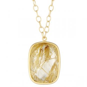 RUTILATED QUARTZ AND 18K GOLD CUSHION PENDANT NECKLACE