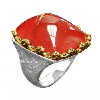 RUTILATED QUARTZ AND CORAL RING