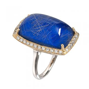 RUTILE AND LAPIS 18K GOLD RING