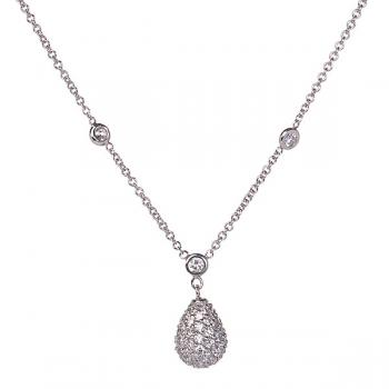 Radiantly lovely Diamond pendant on a Diamond studded white gold chain