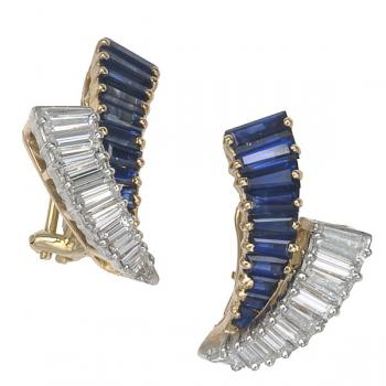 Magnificent Diamond and Sapphire earrings set in Platinum and 18K Yellow Gold