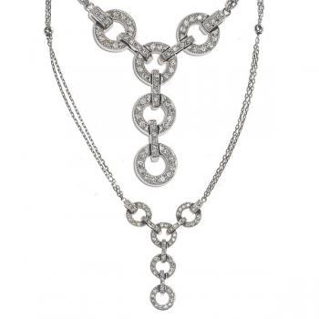 Gorgeous Diamond necklace set in 18K White Gold (two views)