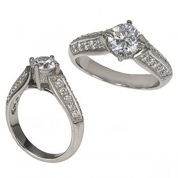 Platinum and Bead Set Diamond Engagment Ring