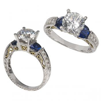 Sapphire and Diamonds 18K White Gold Engagement Ring