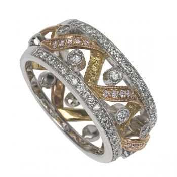 FANCY PINK, YELLOW AND WHITE DIAMONDS 18K GOLD DIAMOND RING