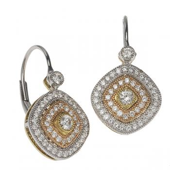 WHITE PINK YELLOW 18K GOLD AND DIAMOND EARRINGS