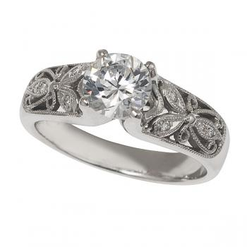 18K White Gold Floral Engagement Ring