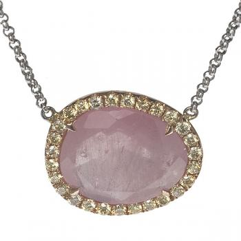 SIDE OVAL STONE AND DIAMOND NECKLACE
