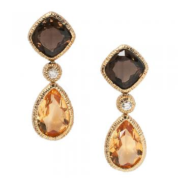 SMOKY QUARTZ AND CITRINE DIAMOND DROP EARRINGS