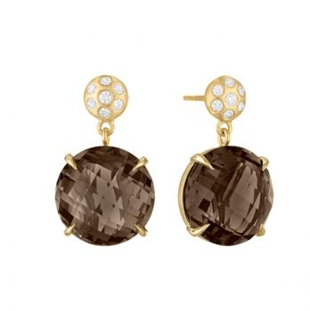 SMOKY QUARTZ AND DIAMOND EARRINGS