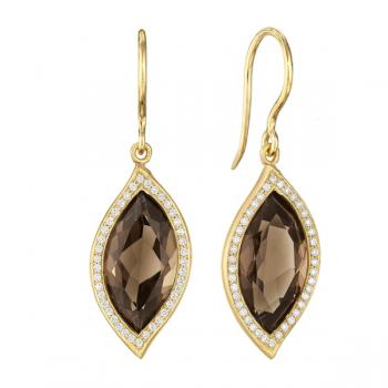 SMOKY QUARTZ AND DIAMOND PAVE EARRINGS