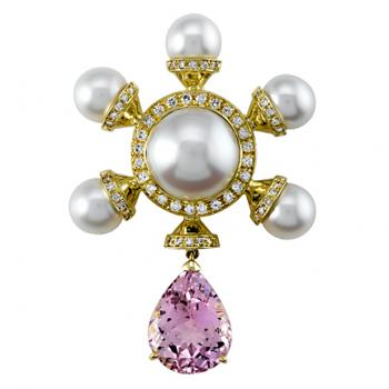 SOUTH SEA PEARL AND KUNZITE PIN