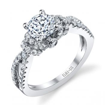 SPLIT SHANK 18K WHITE GOLD DIAMOND ENGAGEMENT RING