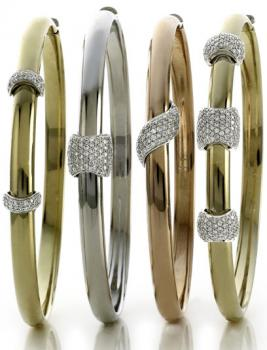 STACKABLE GOLD AND DIAMOND BANGLES