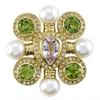 STUNNING PERIDOT, KUNZITE AND DIAMOND PIN
