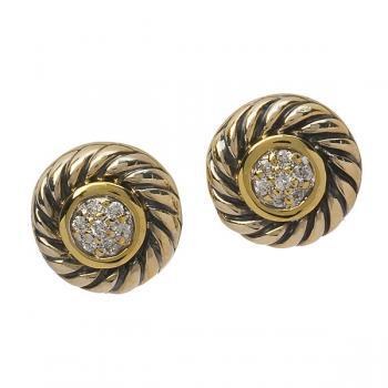 STYLISH DIAMOND AND YELLOW GOLD POST EARRINGS