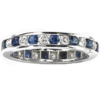 Sapphire and Diamond Channel Ring