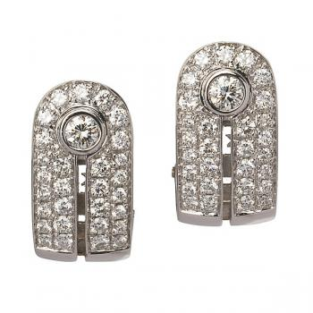 Stunning Diamond art deco earrings set in White Gold