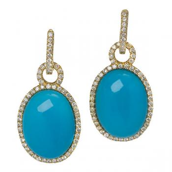 TURQUOISE AND DIAMOND YELLOW GOLD EARRINGS