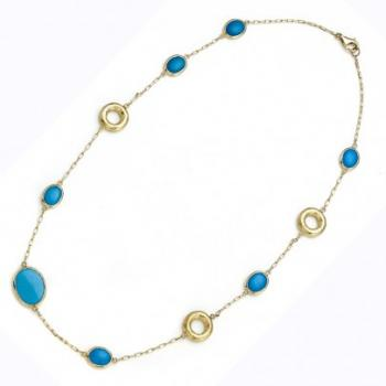 TURQUOISE AND GOLD LINK NECKLACE
