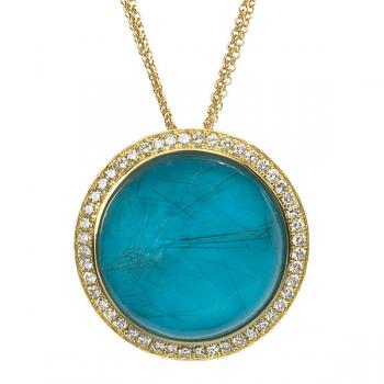 TURQUOISE AND RUTILATED QUARTZ AND DIAMOND NECKLACE