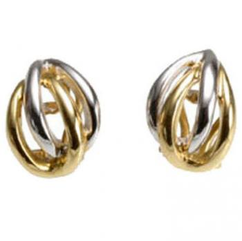 TWO TONE 18K GOLD DOUBLE HOOP EARRINGS
