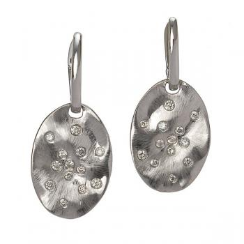 WHITE HAMMERED GOLD WITH DIAMOND EARRINGS