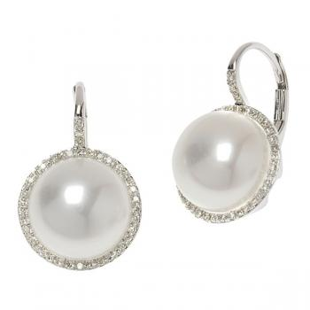 WHITE MABE PEARL AND DIAMOND EARRINGS