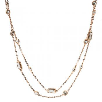 WHITE TOPAZ AND ROSE GOLD NECKLACE