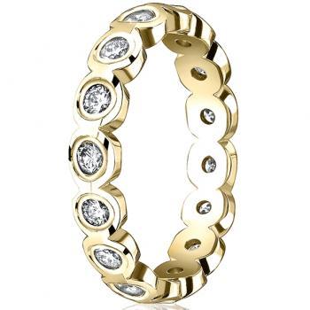 YELLOW GOLD AND DIAMOND SCALLOP ETERNITY BAND