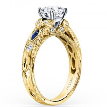 YELLOW GOLD BLUE SAPPHIRE AND DIAMOND ENGAGEMENT RING