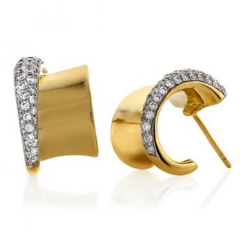 Yellow Gold and Diamond Cuff Earrings