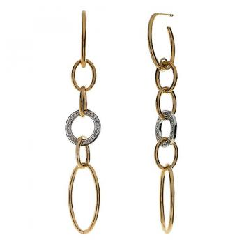 Yellow Gold and Diamond Link Earrings