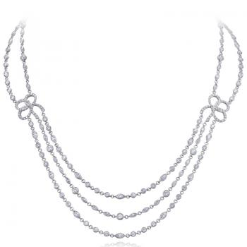 3 GORGEOUS STRANDS OF PLATINUM DIAMOND NECKLACE