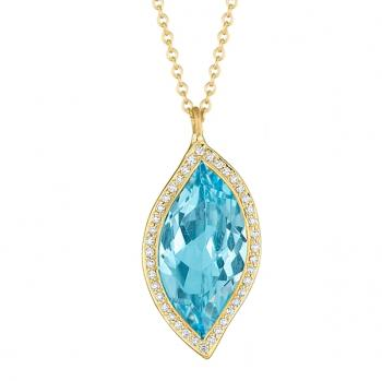BLUE TOPAZ AND DIAMOND PAVE PENDANT NECKLACE