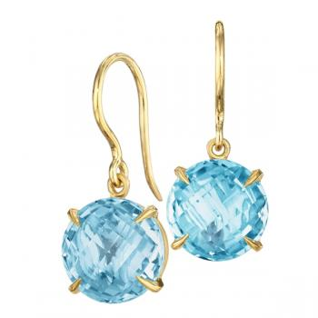 Blue Topaz and 18K Yellow Gold Earrings