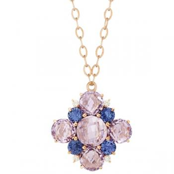 Rose, Tanzanite and Diamond Cluster Pendant Necklace