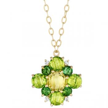 Peridot and Tourmaline Cluster Pendant Necklace