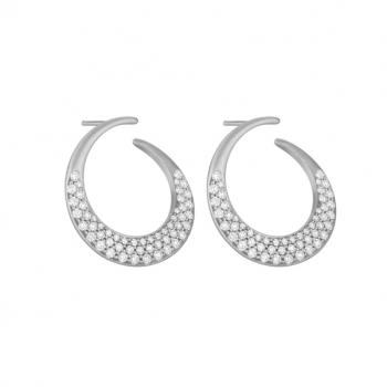 18K White Gold and Diamond Pave Horn Earrings
